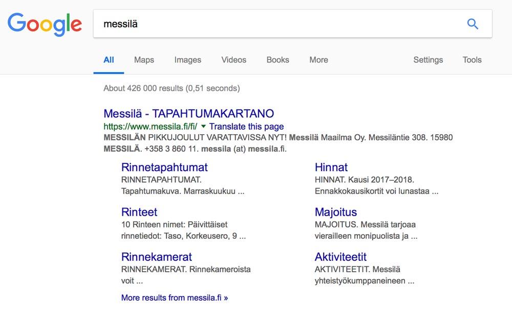 SEO ja Google-hakutuloksen optimointi